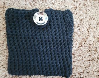 Small Black Cotton Pouch || Crochet Bag