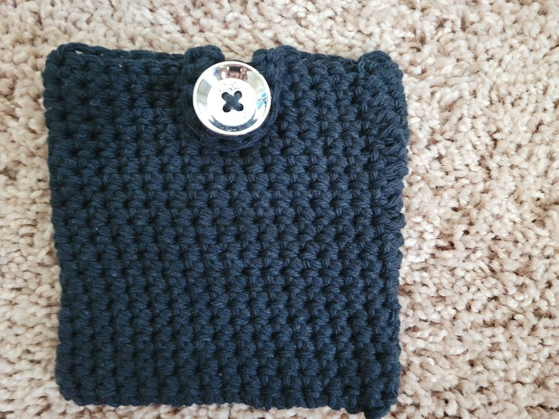 Small Black Cotton Pouch  Crochet Bag image 0