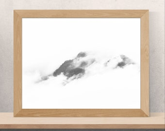 Black And White Minimalist Art For Scandinavian Modern Living Room Decor Foggy Landscape Photography Printable Misty Mountain Print 8x10