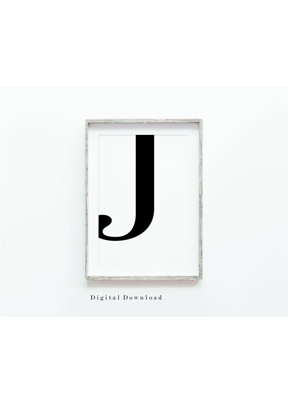 graphic about Letter J Printable called Letter J Wall Decor, Wall Artwork Print, Printable Electronic Down load, Black and White, J Typography Print, Electronic Print, Residence Decor, Wall Artwork