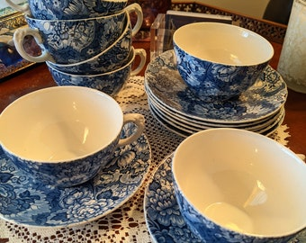 Enoch Wedgwood & Co. Gainsborough Blue 7 Cups 8 Saucers, Made in England 1957