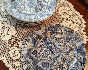 Enoch Wedgwood & Co. Gainsborough Blue Bread / Dessert Plates 7, England 1956