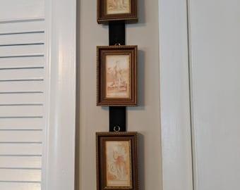 H K Antiqued Collection 3 Mini Framed Sepia Portraits on Velvet Ribbon