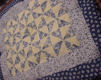 Unique Creations PersonallyByPat Custom Handcrafted Blue and Yellow Country French Baby Comforter
