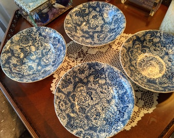 Enoch Wedgwood & Co. Gainsborough Blue Soup Cereal Bowls, 6, England 1956