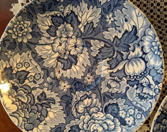 Enoch Wedgwood & Co. Gainsborough Blue Fruit Bowls 6, Made in England 1956