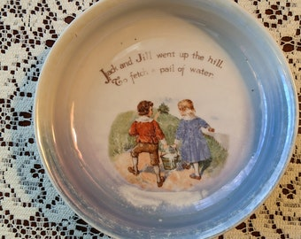 Vintage G. W. Co. Germany Jack and Jill Baby Dish Bowl, 1920s