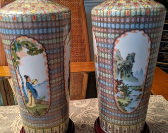 """Vintage Chinese Vases Pair 11.5"""" in Fancy Fabric/Wood Boxes 1980s"""