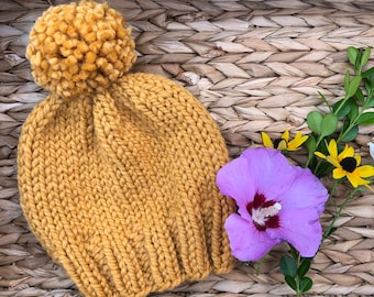 a6d3a028c9e Mustard Yellow Knit Hat with Matching Pom Pom