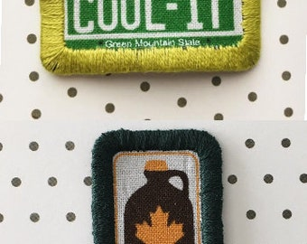 "/""MAPLE SUGARING/"" Iron On Embroidered Patch Syrup Vermont Pancakes"