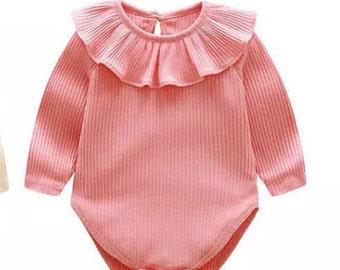 Pink long sleeve leaf collar top