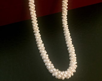 Freshwater pearl necklace, 100% white silk thread, sterling silver clasp