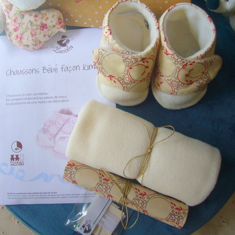 Couture kit: baby slippers 0-12 months in cotton image 0