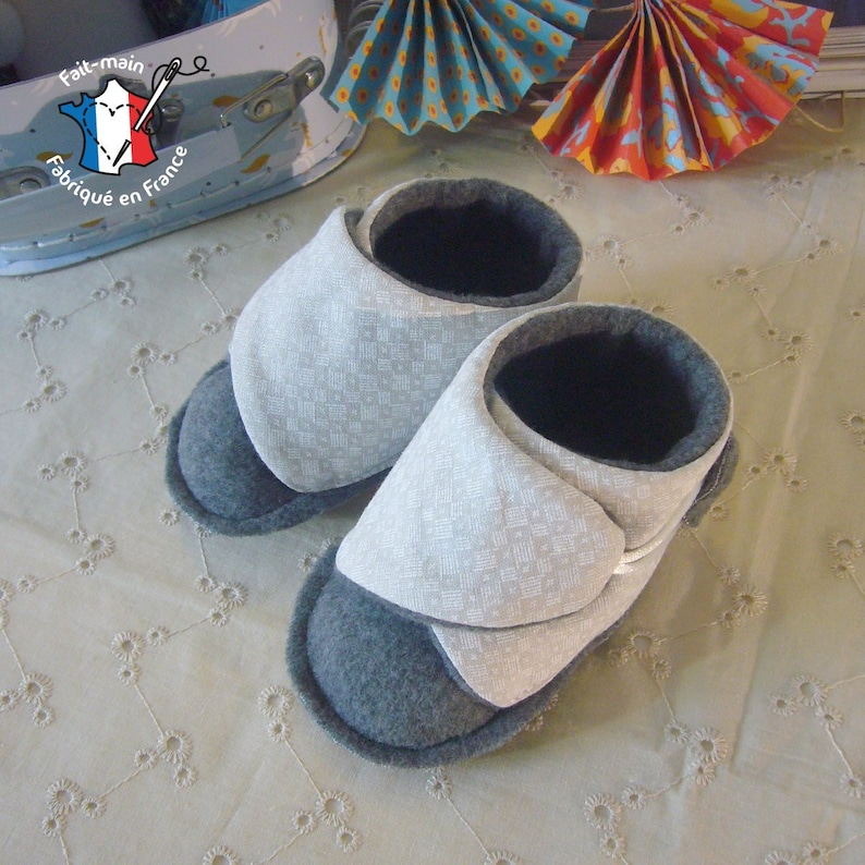 Baby slippers 0-12 months birth gift baby booties birth gift Gris clair - gris