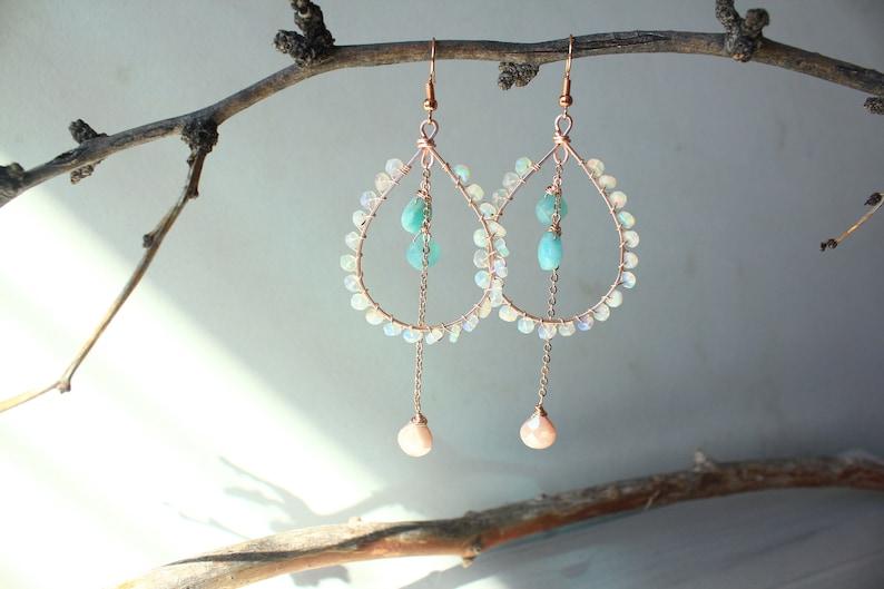Boho Earrings Amazonite Gemstone Dangle Earrings Bohemian Earrings Rose Gold Earrings PRE-ORDER- Ethiopian Opal