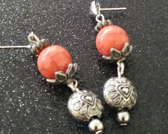 Orange and Silver Post Earrings