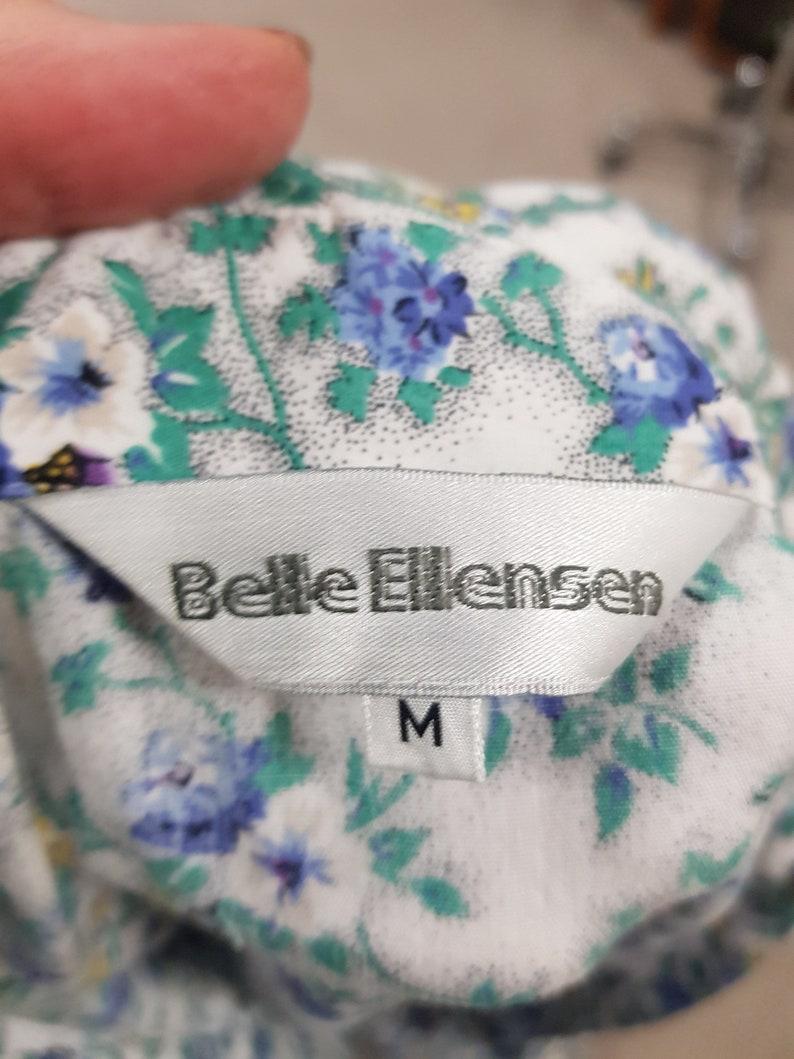 Blue white green floral cotton short sleeve day waist gathered skirt dress small size 73cm waist