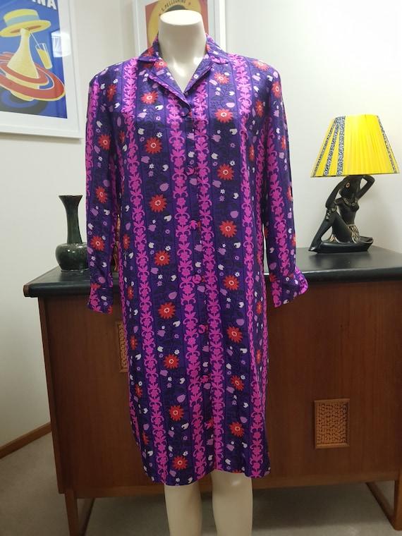 1970s Norman Wiatt silk shirtmaker dress great vib