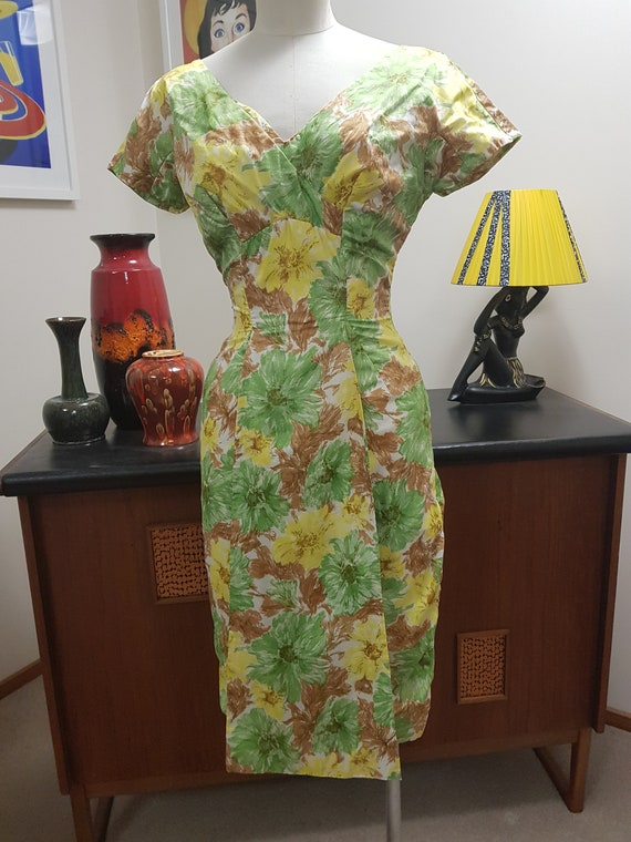 Alix of Miami cocktail dress 1950s yellow green br
