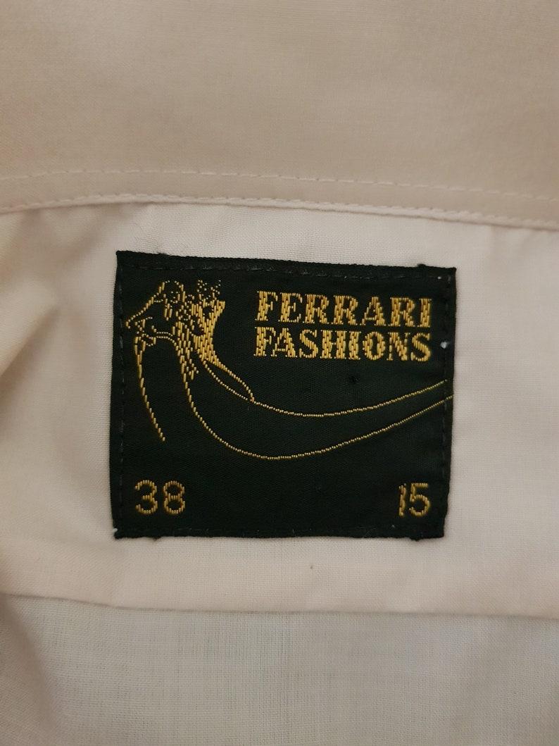 Caramel formal tuxedo shirt brown buttons semi sheer front chest 104cm