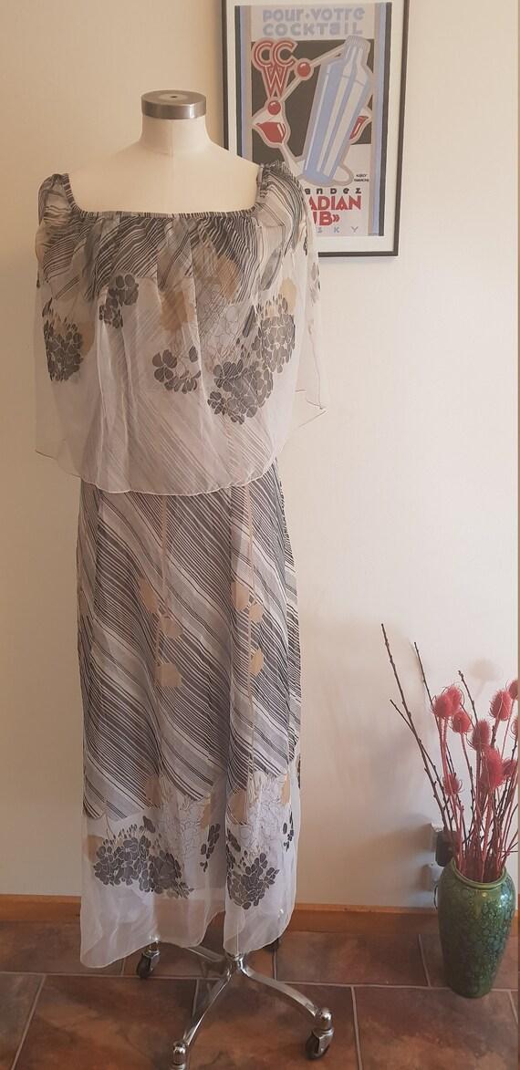 1970s floaty georgette   maxi dress.