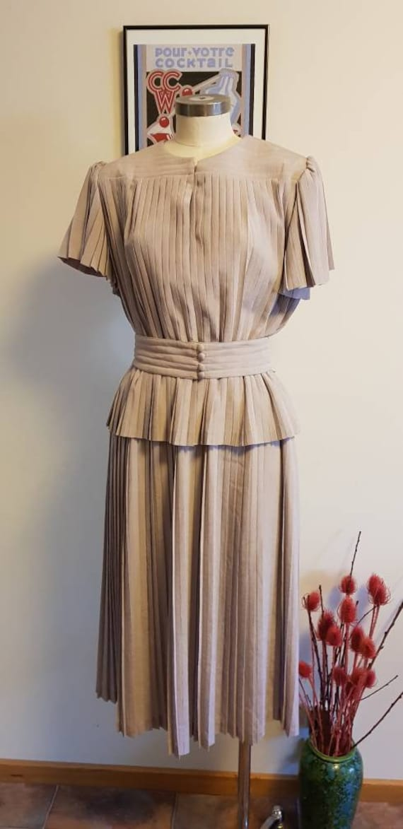 Prue Acton collectable 1980s pleated dress  in tau