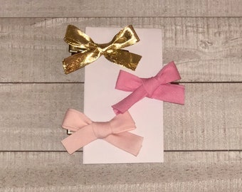 Baby Girl PINK GOLD BOWS set of 3