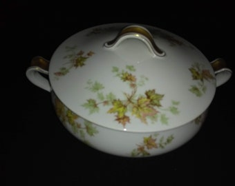 "Haviland Autumn Leaf China 7"" Round Covered Serving Dish"