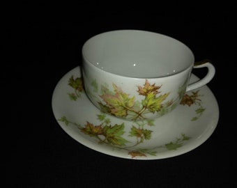 "Haviland Autumn Leaf China 3"" Teacup and Saucer"