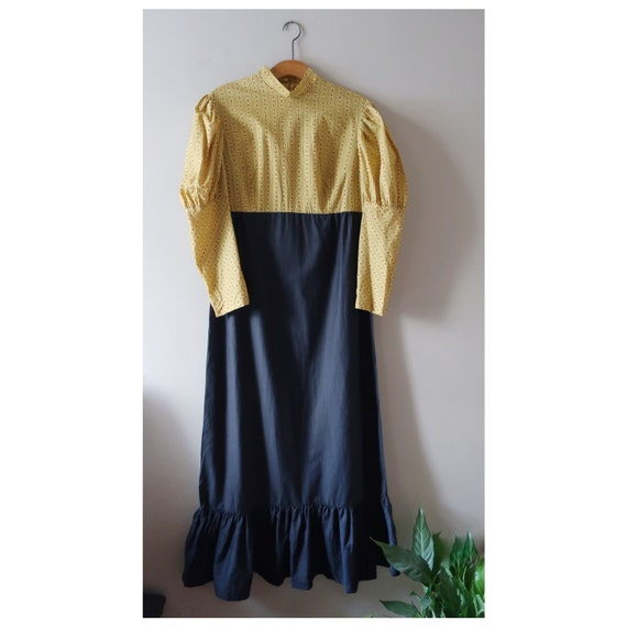 70s handmade maxi dress with mutton sleeve