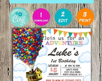 Up Invitation Birthday Party Disney Movie Invitations Balloons