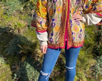 αmαzíng technicolour Dreams Batwing Sleeve Jacket -  Hand Embroidered Kimono -Candy