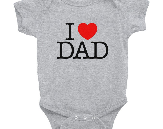 I Heart Dad Baby Bodysuit | Kids 1st Fathers Day Outfit | Baby Girl or Boy, Infant, Newborn, Toddler Father's Day Gift