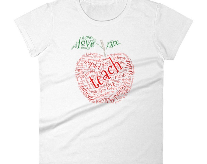 Touching Apple Word Cloud Teacher T-Shirt | Teacher Gift | Teacher's Week | Funny Teacher Shirt