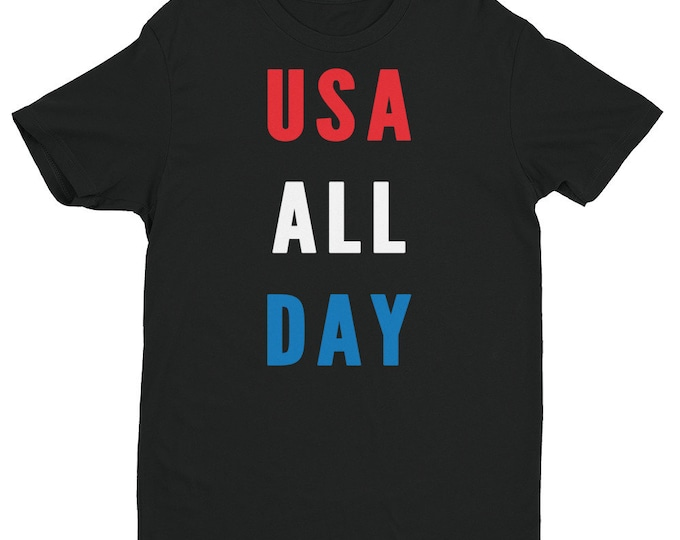 USA All Day Shirt   Patriotic Shirt   Red White and Blue