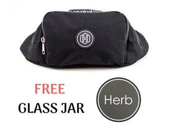 Lockable Black Fanny Pack Smell Proof,Smell Proof Bag,Stash Box,Marijuana Storage, Case with Lock,Lock Stash Box,Gift for Him, Side Bag