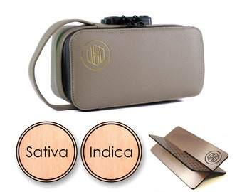 Vegan Leather Smell Proof Kit with 2 Jars, Grinder, Rolling Tray. Smell Proof Bag,Stash Box,Case with Lock,Gift for Him,Gift for Her