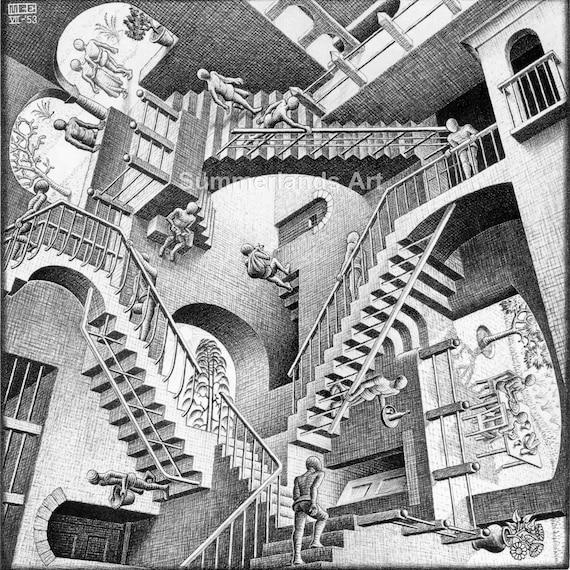 FINE ART PRINT ART Very Rare 50x50cm M C Escher /'Cubic Man/'