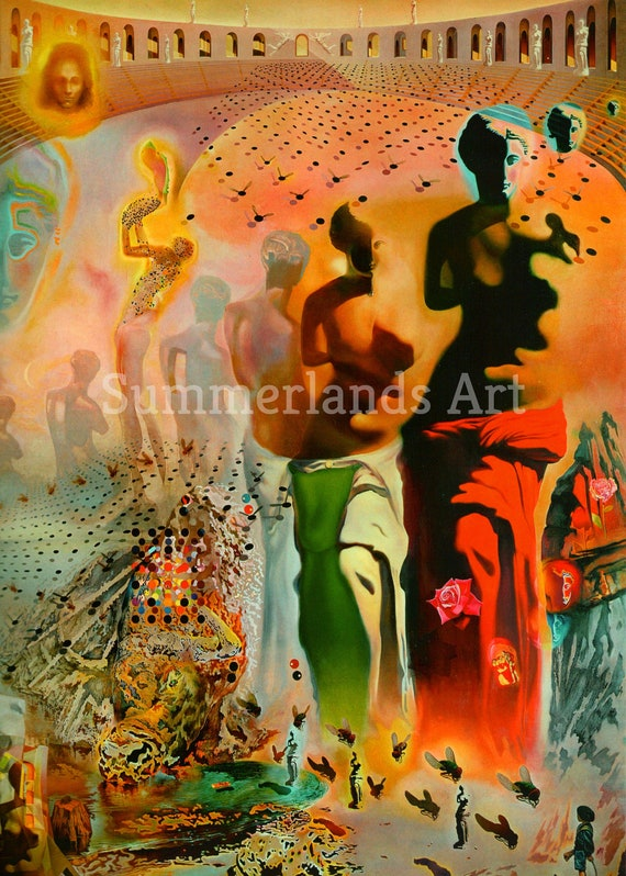 Raphealesque Head Exploding Dali Reproduction Art Print A4 A3 A2 A1