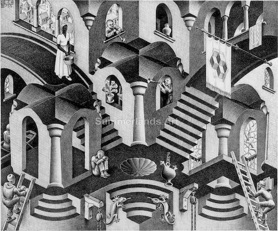 Vintage MC Escher Art Print Bookplate Book-Cut AIR CASTLES ** Ready to Frame