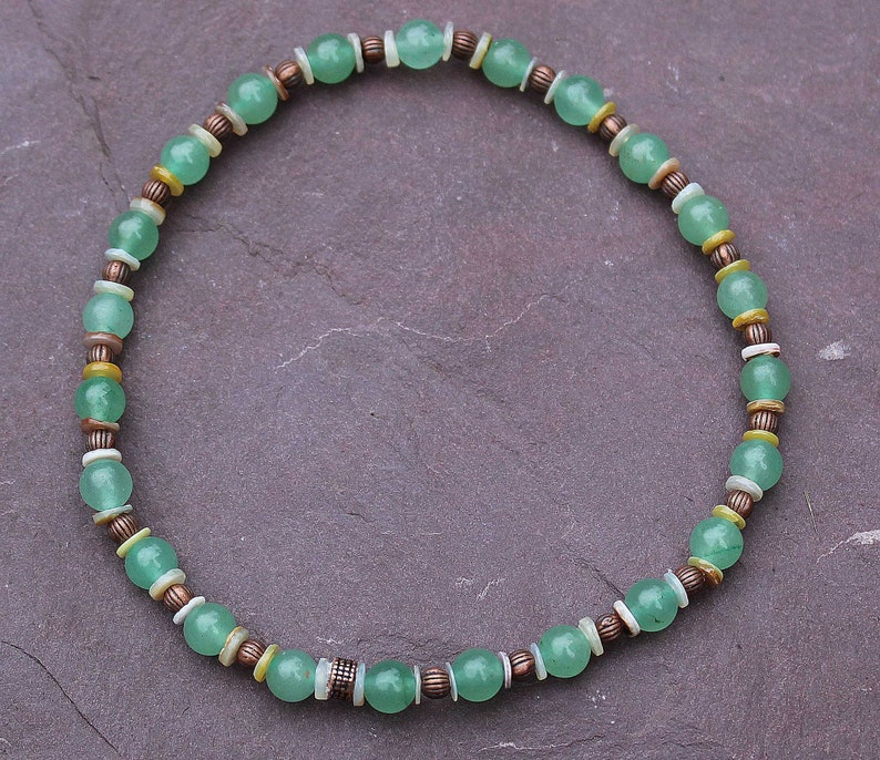 Green gemstone anklet with shell and copper beads Stretchy Aventurine anklet