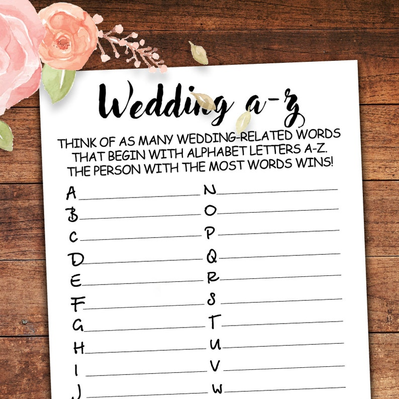 image relating to Free Printable Bridal Shower Games and Activities named Wedding day A-Z Activity . Bridal Alphabet Recreation . Bridal Shower Online games . Wedding day A towards Z . Rustic, Exciting, Shower Online games . Printable Prompt Down load