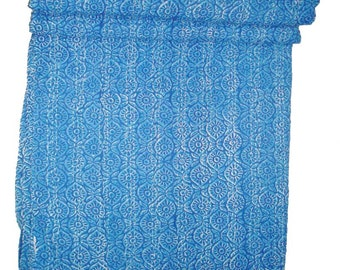 indigo blue kantha quilt hand printed then hand made nutural fabric pure cotton