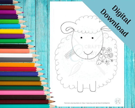 Cute sheep coloring page for children  digital download