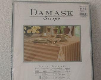Tablecloth - Round black damask stripe design