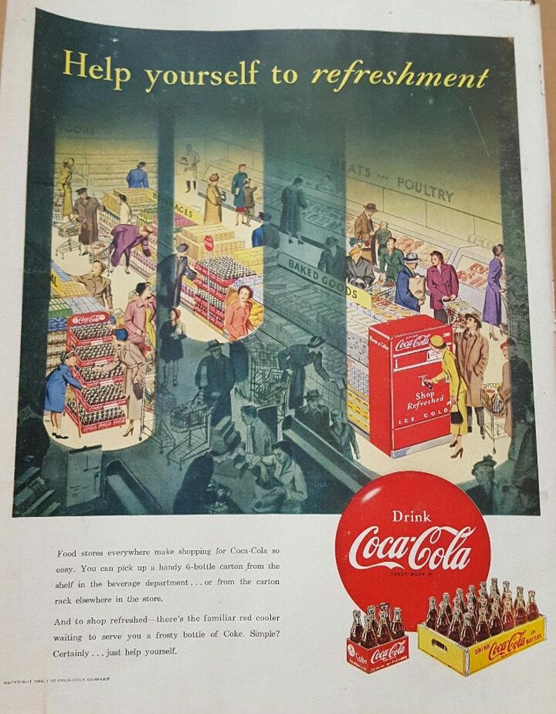 1950 Vintage Coca Cola Coke ad Super Market Grocery Store Red Coke Vending  Machine