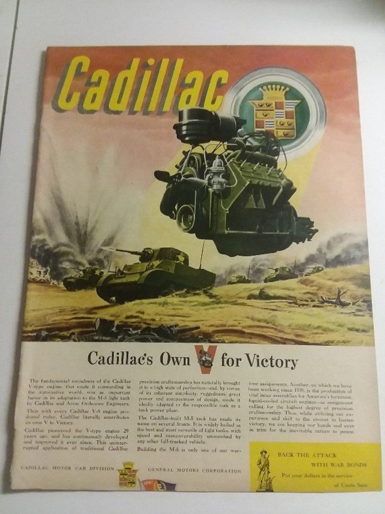 1940s WW2 Cadillac V8 M-5 Tank Army Ordnance Engine ad - Artwork by John  Vickery L@@K!