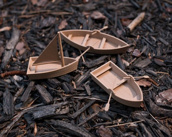 Three Tabletop RPG wooden boats 28mm