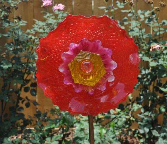 Recycledreclaimed glass flower garden decoration outdoor etsy image 0 mightylinksfo