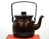 Rare Finel Arabia Finland Brown Orient Enamel Kettle or Teapot Vintage Enamelware by Raija Uosikkinen